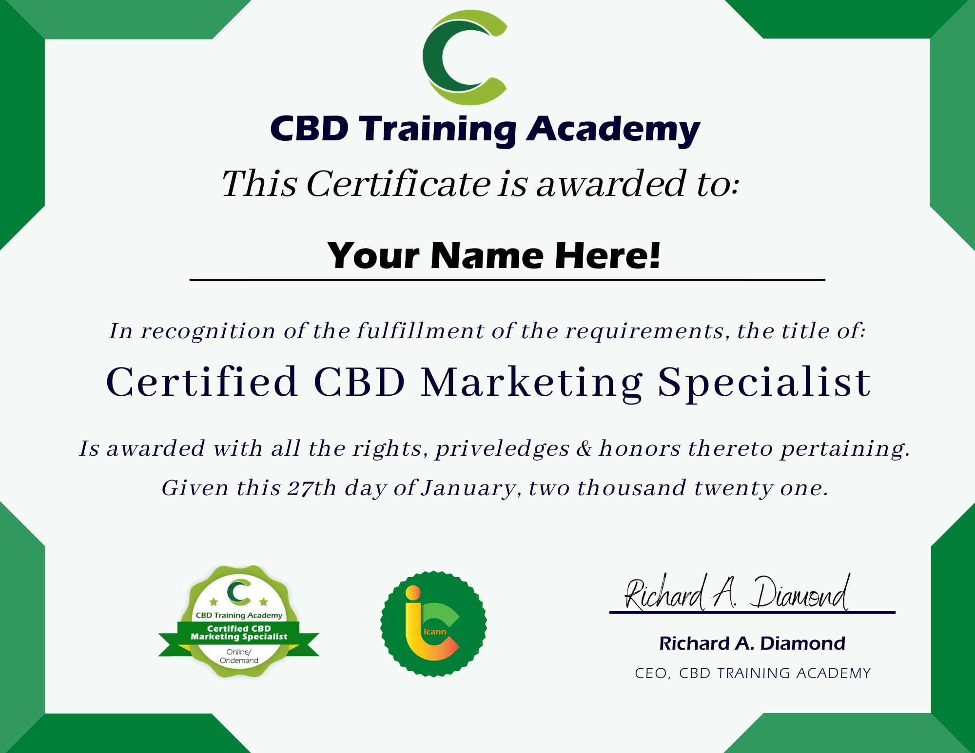 CBD Training Academy Certification